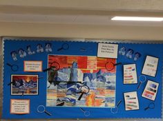 Year 6 artwork linked to 'Antarctica' learning journey. Geography Classroom, Year 6, Classroom Displays, Antarctica, Art For Kids, Literacy, Planets, Art Projects, Journey