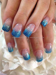 Blue glitter fade over acrylic nails