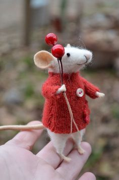 Happy New Year followers thanks for stopping by felt mouse figure with berry balloon festive and fun