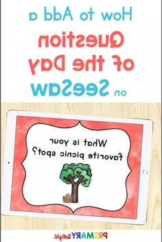 Create a digital question of the day on Seesaw using this simple tutorial. Find out how you can type your own questions or upload pre-made questions on the Seesaw app to use in distance learning. The questions can be used for attendance, writing or community building. This routine is perfect for preschool, kindergarten and first grade students. #QuestionOfTheDay #Preschool #Kindergarten
