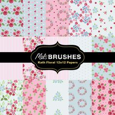 18 beautiful floral pastel pink and blue scrapbook/background digital papers. You can print these out over and over again to use for your craft projects, such as decoupage, card making, also digital or hybrid scrapbooking. Also makes great giftwrap for small presents.