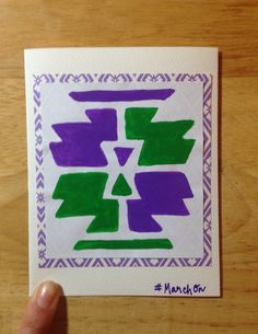 """Blank greeting cards apart of my """"March On, Sister"""" card line that were created in honor of my sister & her strength to march through her recent diagnosis of Multiple Sclerosis (MS). A stencil was used to create the tribal pattern on each 4X5 card. The cards are individually hand-painted with bold color combinations and beneath the painted stencil, in my personal handwriting, it says #MarchOn. Fun DIY project for unique gift."""