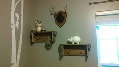 Homeade shotgun shell shelves for our lil ones hunt lodge nursery
