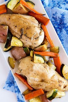 Garden Vegetable Roasted Chicken ~ A garden vegetable inspired roasted chicken dish. A simple weeknight meal with fresh, summery flavors. For a more flavorful dish, replace chicken breasts with boneless chicken thigh. Recipe from dineanddish.net