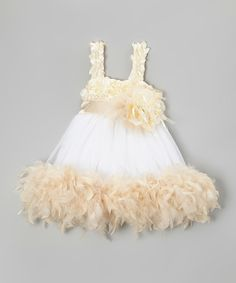 This Cream & White Feather Boa Dress - Infant, Toddler & Girls by Bébé Oh La La is perfect! #zulilyfinds