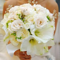 White Amaryllis and Roses  The Bridal Bouquet