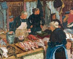 Edward Le Bas, busy market lovely impression
