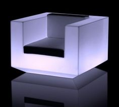Ultra Modern Fashionable Outdoor Arm Chair with Led Light, Vela by Ramón Esteve
