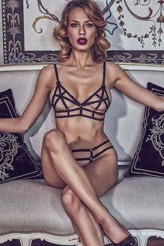 """lavinialingerie: """"Bondage style sets are in fashion this year! 🔥🚒🚨 Surely, every woman should have at least one? 😏 'Echo' by Anais includes an open-cage bra and a crotchless thong panty which come together as a set. Spandex, Bra And Panty Sets, Sexy Lingerie, Lingerie Sets, At Least, Swimwear, Model, Clothes, Caged Bra"""