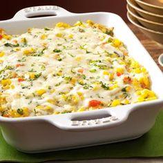 sweet P recipes: Transformation to Yum - Basil Corn & Tomato Casserole Baked Tomato Recipes, Corn Recipes, Side Dish Recipes, Vegetable Recipes, Fresh Basil Recipes, Baked Corn, Cooking Recipes, Healthy Recipes, Healthy Eats