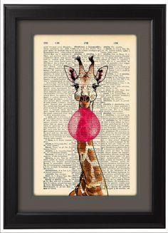 Happy Giraffe and Bubblegum pop Funny poster  Dictionary Print  poster Happy Giraffe Gift poster Dorm College Home Wall decor CODE/147 (10.00 USD) by Natalprint