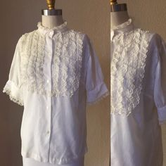 Hollywood White Lace Blouse, 50's White Designer CA Top, Puff Slv. by sailorpinkvintage on Etsy