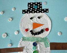 Snowman Cupcake Liner Paper Craft   AllFreeKidsCrafts.com