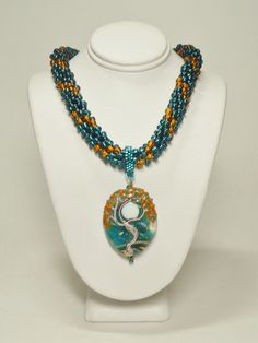 Topaz/Zircon Kumihimo Necklace with Lampwork by GrnEydDesigns, $81.00