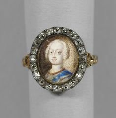 Diamond ring with a portrait of Frederick, Prince of Wales, given to Prince Albert in 1847 during a royal visit to Scotland. 1730.