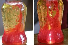 lava lamp science experiment... liquids are different densities but not by much. When the light globe warms the lamp up, the slightly heavier liquid (the coloured one) becomes less dense and floats to the top. There it cools down and falls back down to the bottom...coloured water sticks to the air bubbles, then sinks when the bubbles break on the surface.