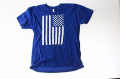 Mens Short Sleeve T Shirt size XL American Apparel royal blue flag graphic #Americanapparel #BasicTee