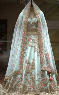 A Sky Blue Color Zardosi Embroidered Raw Silk Bridal Lehenga - Designer Dresses Couture Bridal Lehenga Online, Designer Bridal Lehenga, Indian Bridal Lehenga, Indian Bridal Outfits, Indian Bridal Wear, Blue Bridal, Indian Wear, Lehenga Wedding Bridal, Bridal Lenghas