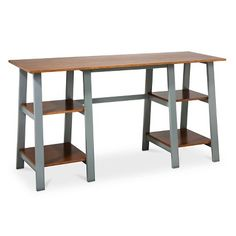 Threshold™ Double Trestle Desk - Midtone/Gray -- x2 -- New computer desks for family room
