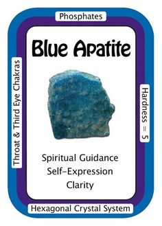 Crystal Card of the Day: Blue Apatite, I see clearly and express myself with ease. Apatite enhances manifestation of ideas to reality and facilitates getting results, and has traditionally been associated with humanitarian efforts and teaching. As a Third-Eye Chakra Crystal, Apatite can initiate or increase the development of psychic abilities, such as clairvoyance and clairaudience. Meditation with an Apatite Crystal on the Third-Eye Chakra can open this chakra up to more subtle vibra...