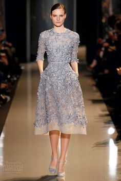 Dresses, Couture Spring Summer 2013 Lavender Blue Coccoon Embroidered Lace Short Dress Sleeves By Elie Saab: Beautiful Dresses by Elie Saab Spring/Summer 2013 Gaute Couture Collection Short Lace Dress, Lace Dress With Sleeves, The Dress, Short Sleeve Dresses, Half Sleeves, Long Sleeve, Elie Saab Couture, Couture Dresses, Fashion Dresses