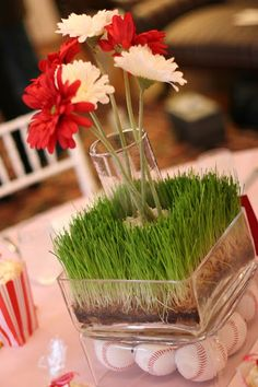 floral baseball themed wedding reception centerpiece