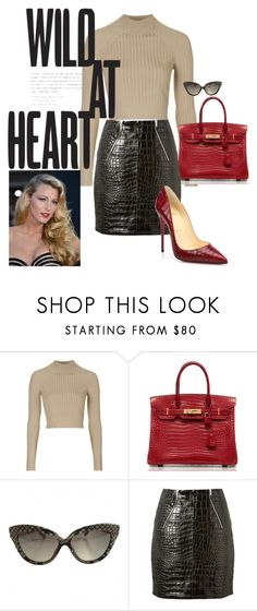 """""""Texture Series:  Reptile Embossed"""" by brandonandrews500 ❤ liked on Polyvore featuring Topshop, Hermès, Linda Farrow, Yves Saint Laurent and Christian Louboutin"""