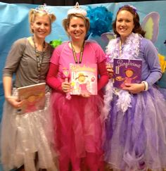 Pinkalicious, Silverlicious, and Purplicious. Cute costumes for Read Across America Day!