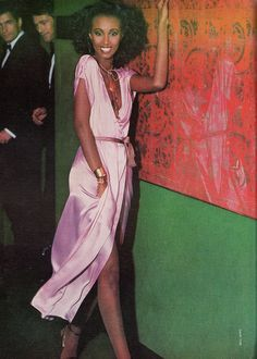 Fashion in the 70s was about effortless elegance, as demonstrated by this sliver of a dress by Calvin Klein. The only accessories needed are bronze bangles, a tangle of leather necklaces, and a mega-watt smile. Very Studio 54. Photo from Bazaar, February 1978.