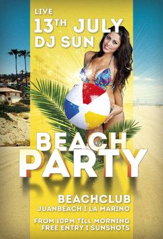 Free Flyer: Beach Party Template - http://www.freepsdflyer.com/free-flyer-beach-party-template/ Free Flyer: Summer Beach Party Template. A good way to promote your next summer, beach, pool and music events.  #Bar, #Beach, #Beats, #Club, #Deluxe, #Diva, #EDM, #Electro, #Glamorous, #Hot, #Ladies, #Lounge, #Night, #Nightclub, #Party, #Pool, #Sexy, #SpringBreak, #Summer, #Sun