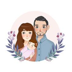 Wedding Illustration, Family Illustration, Portrait Illustration, Illustration Artists, Character Illustration, Family Drawing, Cute Love Cartoons, Free Illustrations, Drawing People
