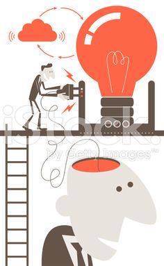 Students Help Shape Classroom Instruction / three students plugged into classroom format?  Businessman with open head and electrical plug, charging idea concept royalty-free stock vector art