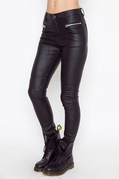 Leather Black Jeans