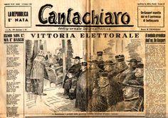 "Pietro Garinei and Sandro Giovannini's satirical weekly magazine ""Cantachiaro"": ""Election victory"" (14th June 1946)."