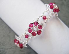 Beaded Bracelet Pattern Tutorial - Ruby Crystal Flower Bracelet (BB131) - Beading Jewelry PDF Tutorial (Digital Download) #rubyjewelry