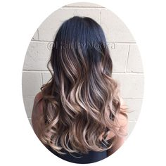 Hair painting balayage brunette to blonde buttermilk long layers wavy hair