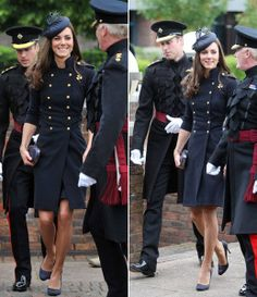 HRH the Duchess of Cambridge wore a navy Alexander McQueen PreAW11 dress in Windsor, England today