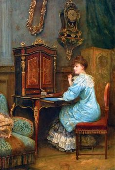 Woman Writing ~ Paul Antoine de la Boulaye (1849 -  )