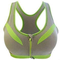 027de0ad3d60a Iumer Women Fitness Sports Yoga Tank Top Bra Workout Racer Back Front  Zipper Bras Gray -