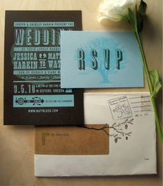 Matt + Jessica's Screen Printed Wedding Invitations by Curious Doodles