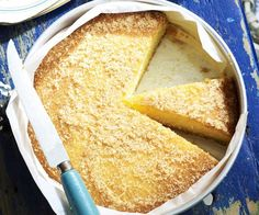 Coconut and lemon syrup cake, coconut recipe, brought to you by Australian Women's Weekly Lemon Syrup Cake, Lemon Meringue Cheesecake, Lemon Dessert Recipes, Cake Recipes, Citrus Recipes, Gluten Free Chocolate, Chocolate Recipes, Lemon And Coconut Cake, Coconut Cakes