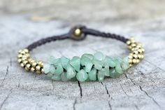 Jade Stone Brass Bracelet by brasslady on Etsy, $8.00