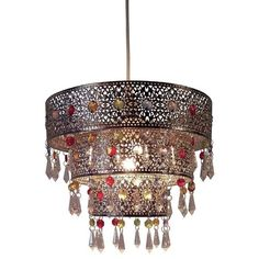 Ligier 3 Tier Moroccan Style 1-Light Drum Pendant (532.365 IDR) ❤ liked on Polyvore featuring home, lighting, ceiling lights, drum ceiling lights, drum lamp-shade, drum lights, hanging drum lamp and hanging drum lights