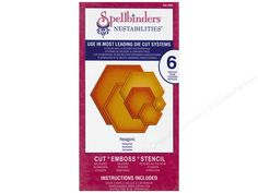 The dies in a Spellbinders Nestabilities Die set differ in size by 1/2 inch, causing them to nest with a 1/4 inch border. These patented metal dies offer triple function; they cut the shapes, emboss details, and let the user stencil through the die! Spellbinder dies may also be used in most leading die cut machines. Nestabilities Hexagons includes 6 hexagonal dies. Sizes are approximately 7/8 x 3/4 inch, 1 1/4 x 1 3/8 inches, 2 1/4 x 1 7/8 inches, 2 7/8 x 2 1/2 inches, 3 5/8 x 3 1/8 inches…
