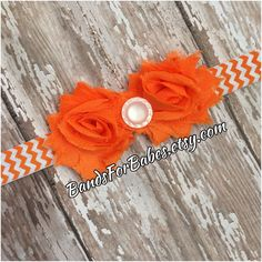 Petite Shabby Chic Orange and White Flower Chevron Headband by BandsForBabes on Etsy