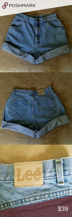 VINTAGE LEE HIGH WAISTED MOM DENIM SHORTS 14 L VINTAGE LEE HIGH WAISTED MOM MEDIUM WASH DENIM SHORTS.  Size 14 L. Measurements will follow soon. These shorts can be worn cuffed or uncuffed or cut to another length. These will hug your butt and give you a sexy silhouette. 100% cotton Lee Shorts Jean Shorts