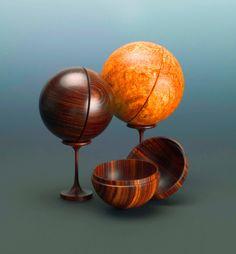 Stuart Batty  Cocobolo, Afzelia Burl, and Brazilian Kingwood  3 to 3.5 inches in diameter