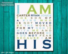 I Am His. Christian Wall Art. Nursery Wall by LittleLifeDesigns