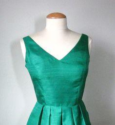 green silk dress with princess seams