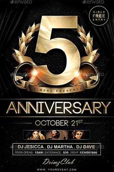 Anniversary Free Psd Flyer, Free Flyer Templates, Event Flyer Templates, Print Templates, Club Flyers, Event Flyers, Birthday Flyer, 50th Birthday, Graphic Design Flyer